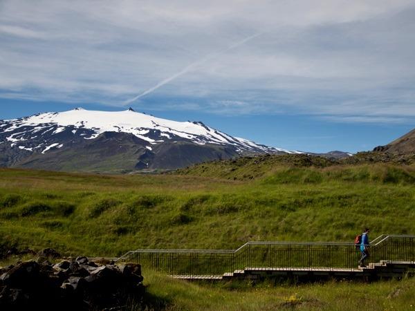 Ausblick bei der Wanderung am Hellnar mit Blick im Snæfellsjökull National Park