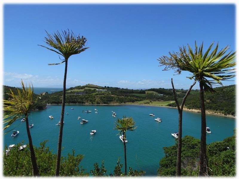 Boote, Palmen und toller Ausblick in einer Bucht
