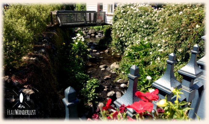 Ausblick in einen Garten in Akaroa
