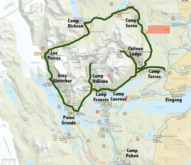 Torres del Paine für Anfänger: Routenverlauf