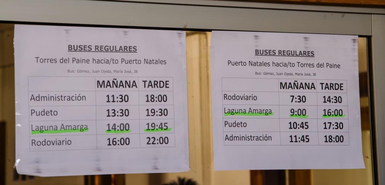 Torres del Paine für Anfänger - die Buszeiten