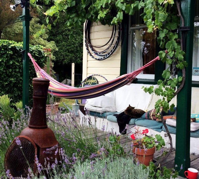 Suche nach dem Sinn des Lebens: Hängematte im Hostel in Picton